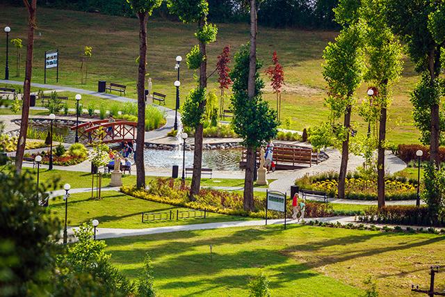 Zdjęcie przedstawia widok ogólny parku pełnego ścieżek, oczek wodnych i kwiatów, a także spacerujących ludzi.