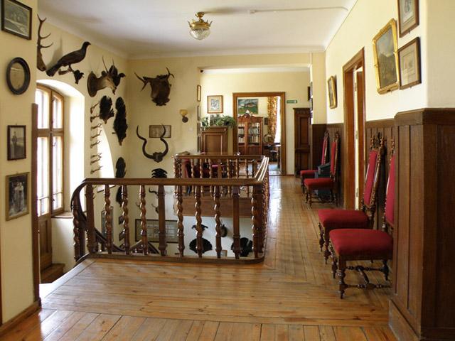 Zdjęcie przedstawia korytarz na piętrze starego domu, widać schody i drewnianą podłogę. Ściany zdobią poroża zwierząt i obrazy. Widać wiele drzwi.